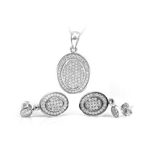 Silver Earing and Pendant Set with Zirconia